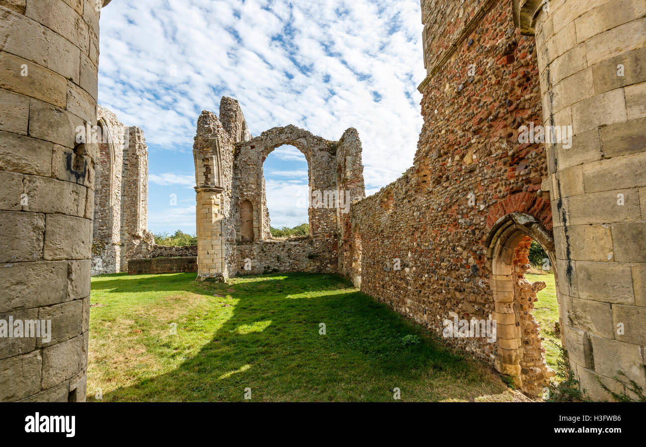 St Michael's Chapel in the 14th century ruins of Leiston Abbey, an abbey of Premonastratensian canons - Stock Image
