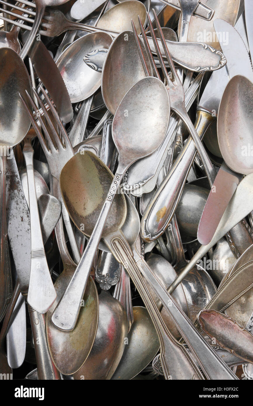 Old silverware - Stock Image