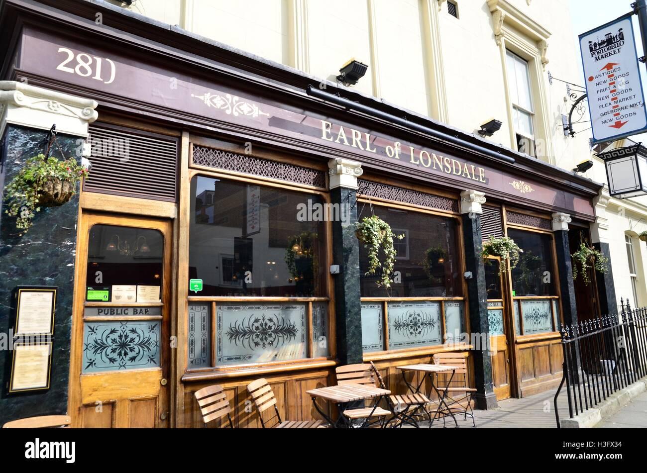 Earl of Lonsdale Pub, Portobello Road, Notting Hill, London, England, UK - Stock Image