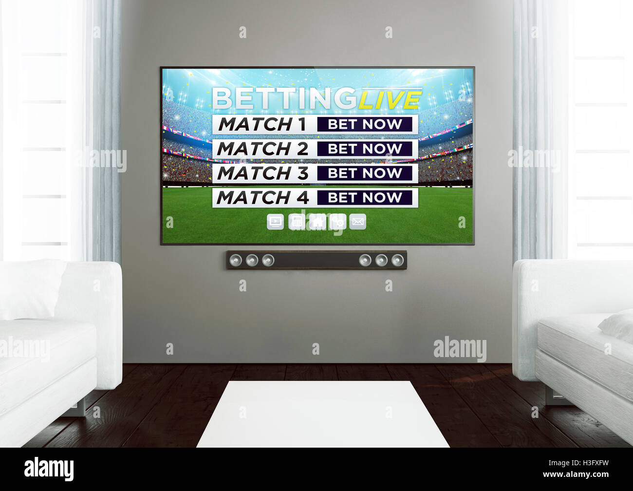 3d rendering of sports live betting app on smart tv on a