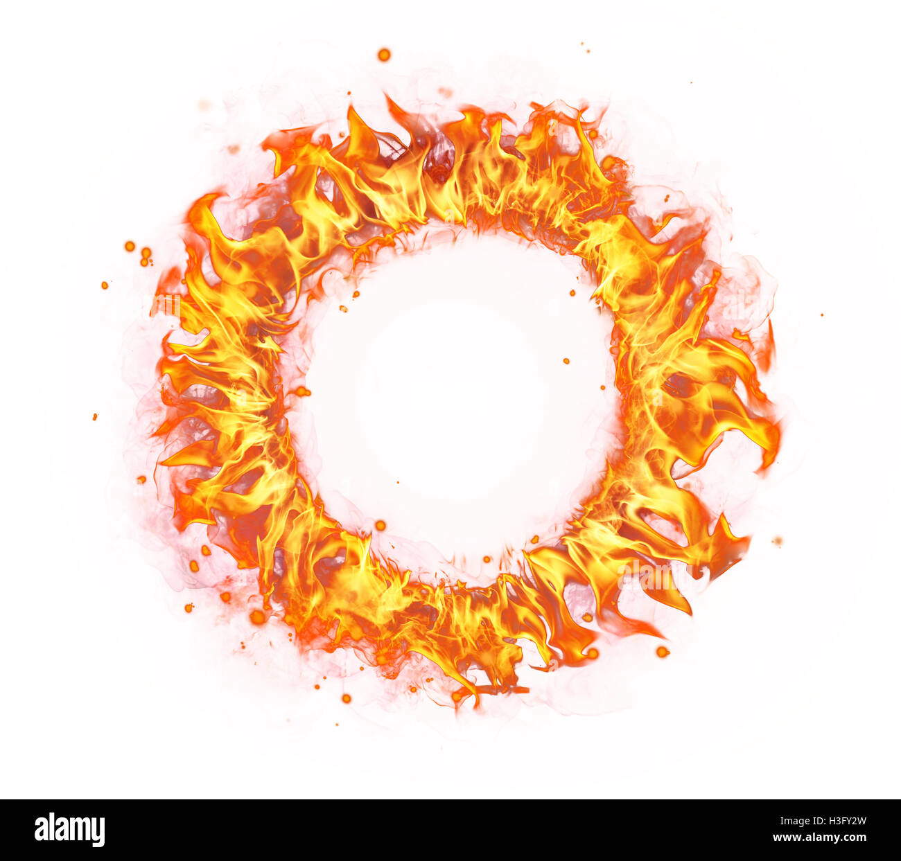 Abstract shape of fire circle isolated on white background - Stock Image