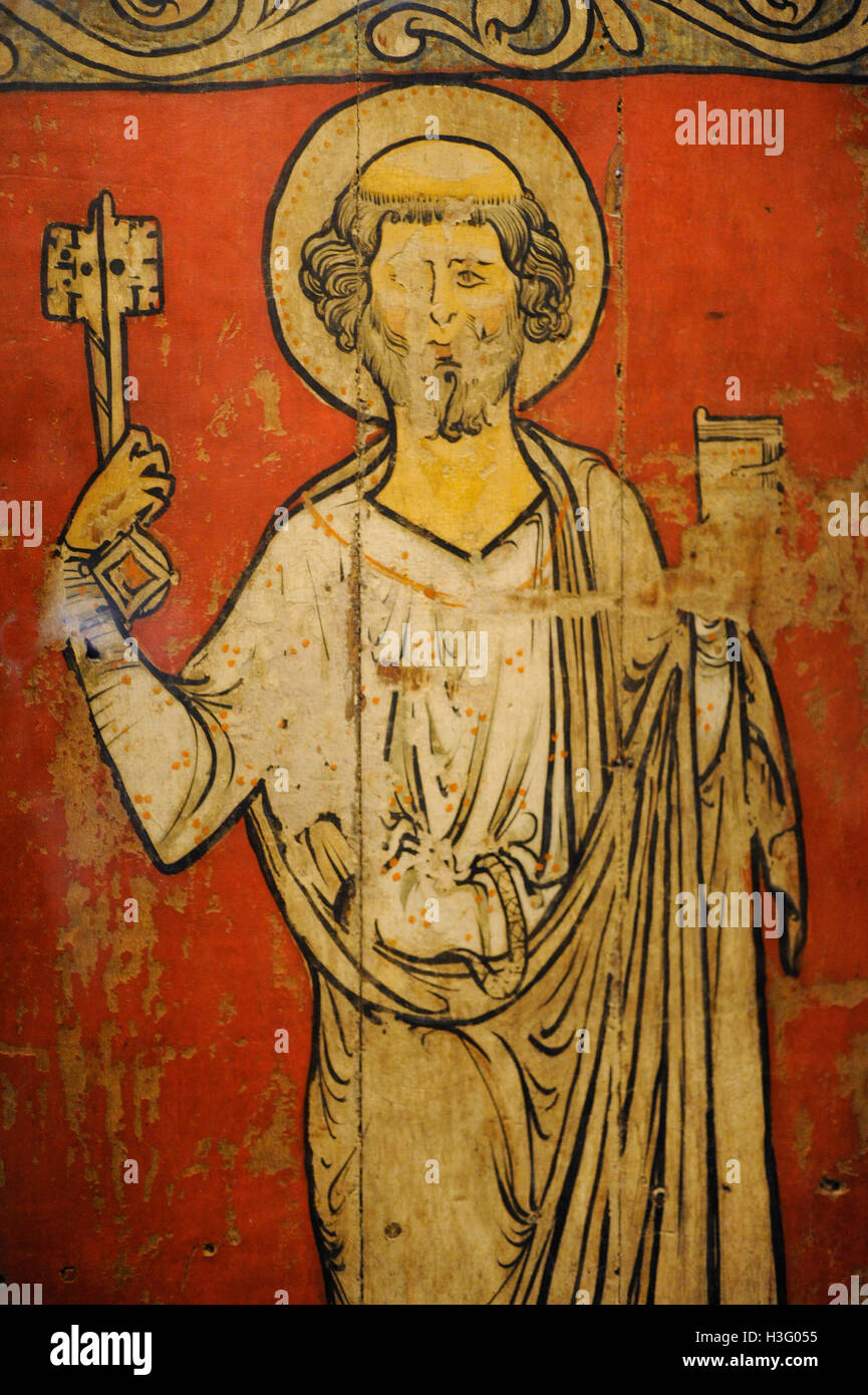 Saint Peter. Painting. Tabernacle door. Faberg church, Oppland. c. 1250. Detail. Historical Museum. Oslo. Norway. - Stock Image