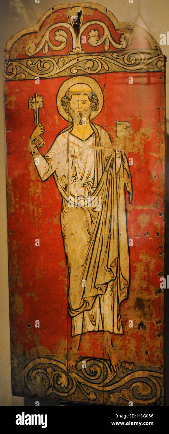Saint Peter. Painting. Tabernacle door. Faberg church, Oppland. c. 1250. Historical Museum. Oslo. Norway. - Stock Image