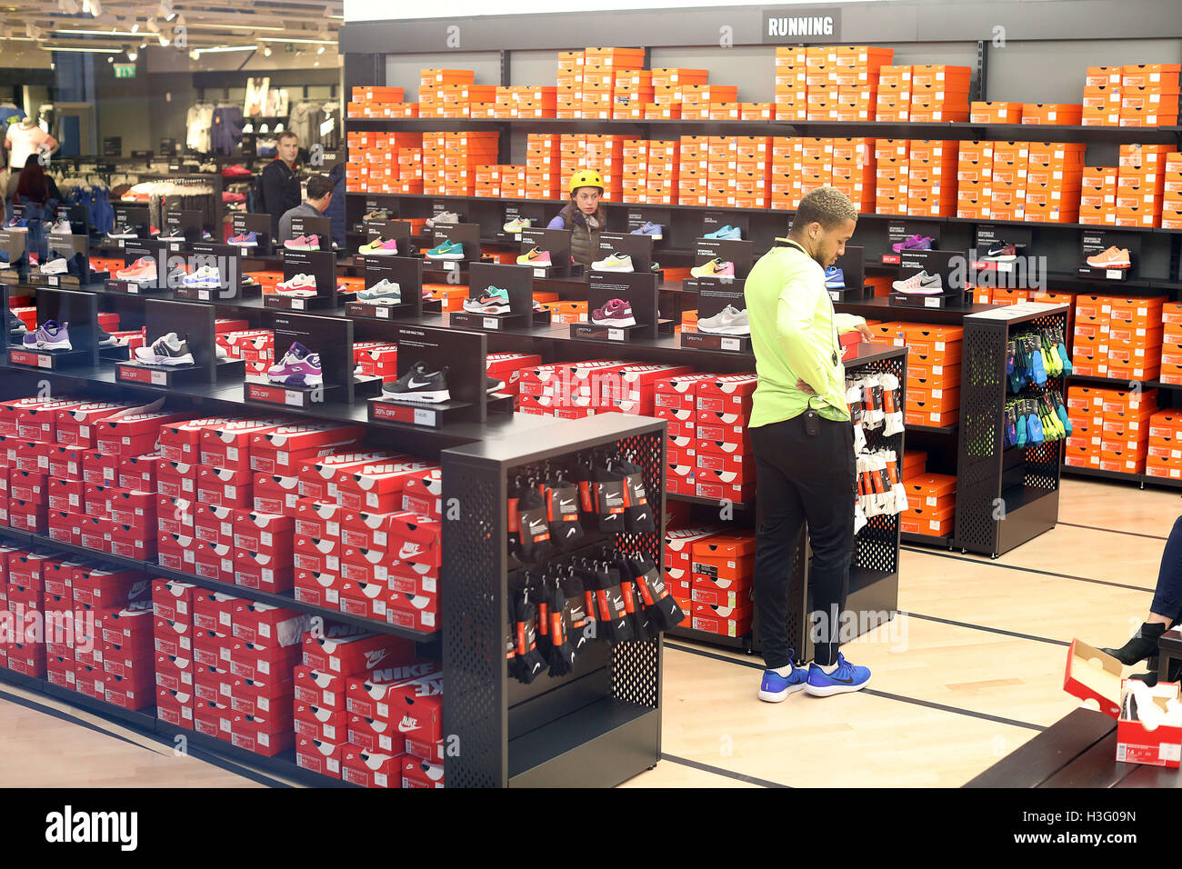 56dc192da9 Nike shop shoes trainers training shoe boxes Stock Photo: 122668049 ...