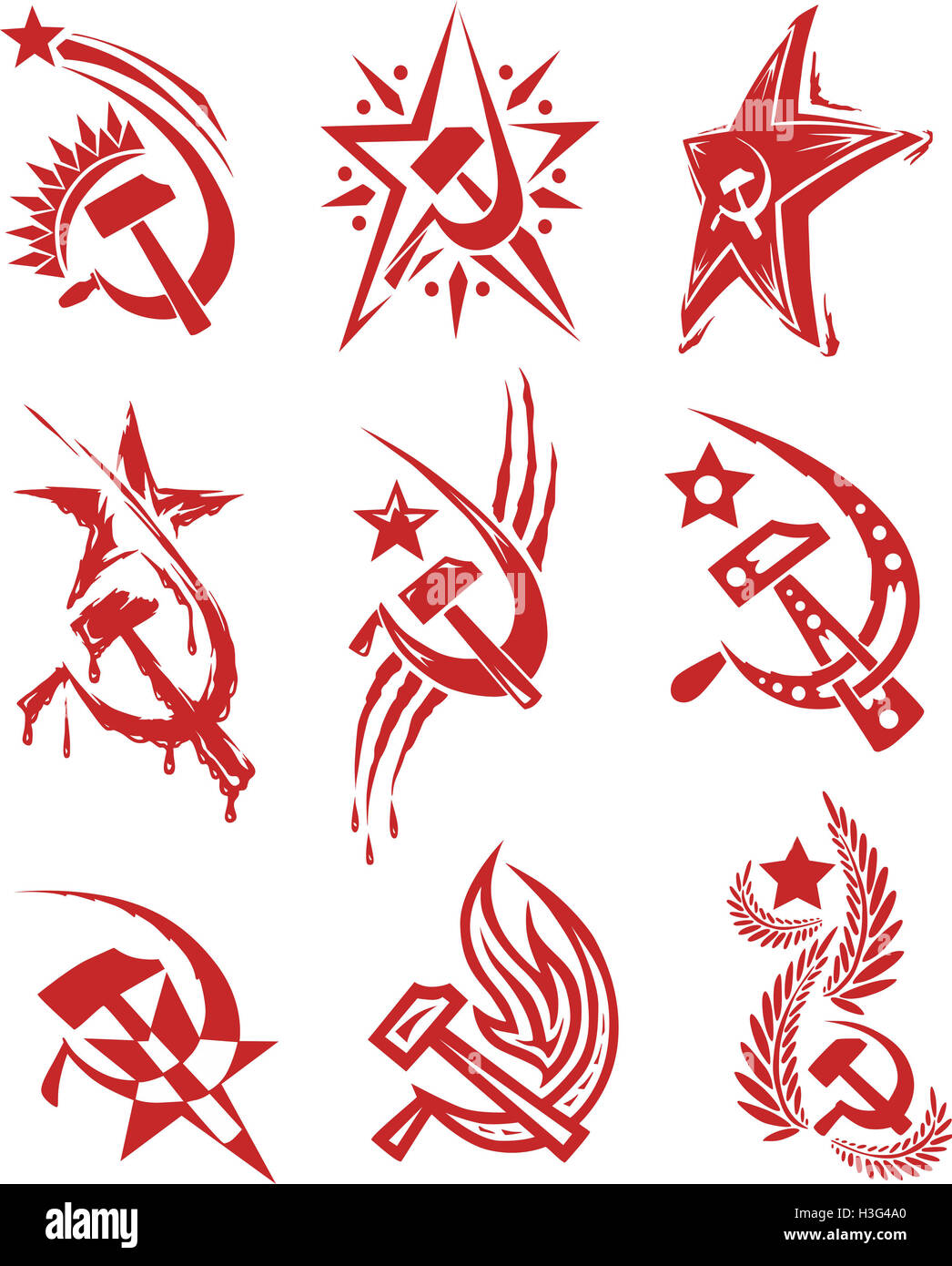 Set Of Red Color Soviet Symbols With Stars And Sickle And Hammer