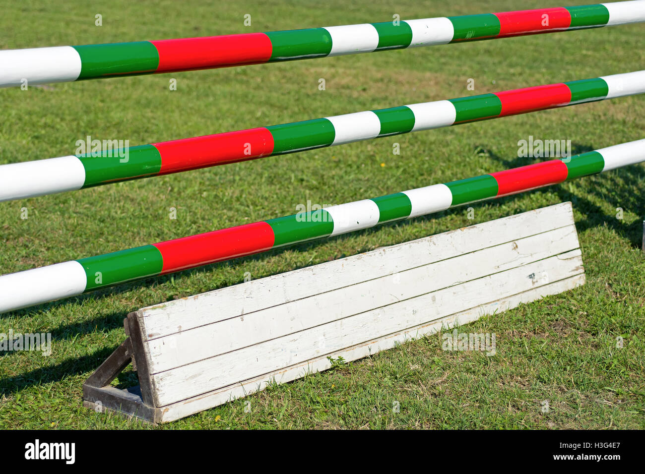 Horse Jumping Hurdle. Equestrian Sports. - Stock Image