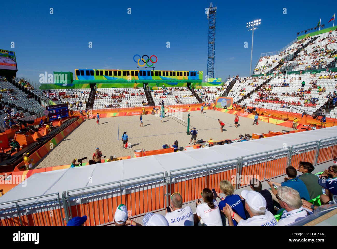 The venue for Olympic beach volleyball on the Copacobana beach in Rio de Janiero, Brazil, as seen while U.S. Secretary - Stock Image
