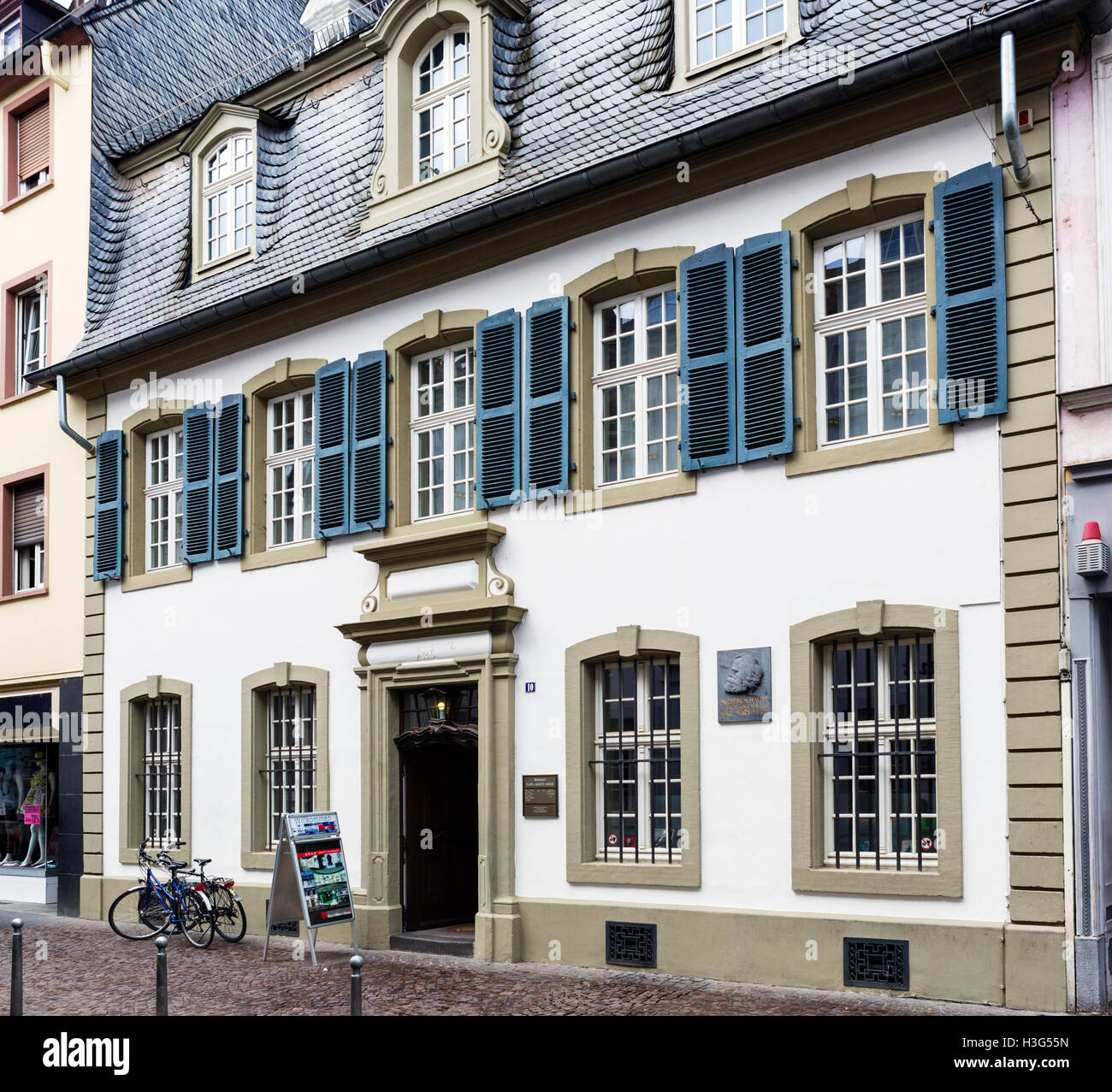 The Karl Marx House, where Karl Marx was born and grew up, Altstadt, Trier, Rhineland-Palatinate, Germany - Stock Image