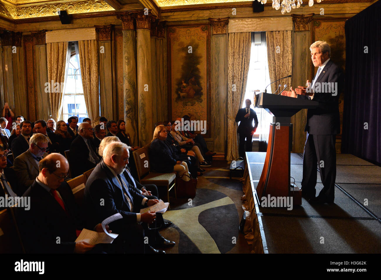 U.S. Secretary of State John Kerry delivers remarks at the Montreal Protocol Donor Declaration Event in New York - Stock Image