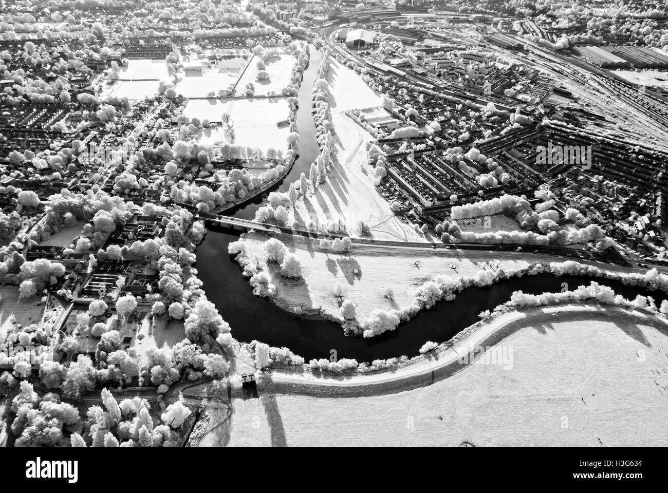 Infra red photograph of York, taken from the air. Photograph shows the River Ouse, trees and fields. - Stock Image