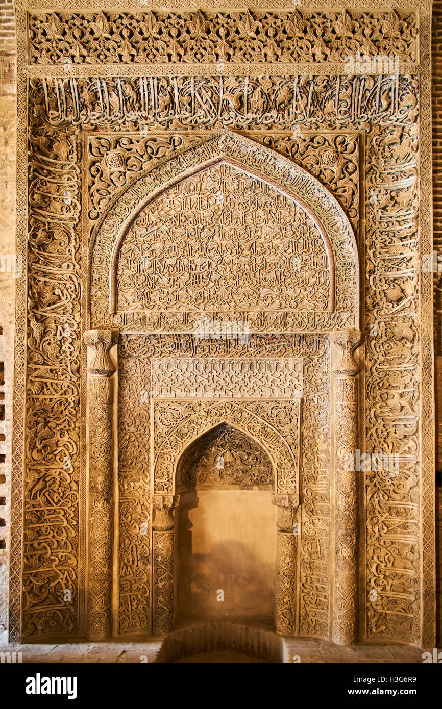 Iran, Isfahan, Friday mosque, world heritage of the UNESCO, stucco mihrab with Quranic inscriptions - Stock Image