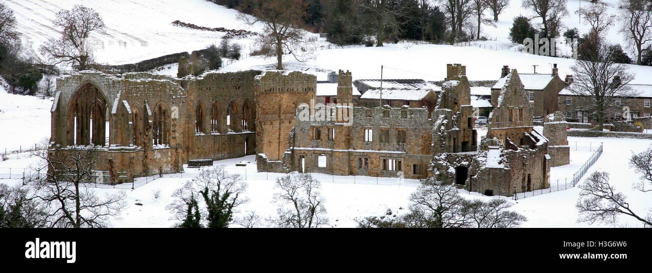 Winter, snow, January, February, Snow Egglestone Abbey, Barnard Castle, County Durham, England, UK, - Stock Image