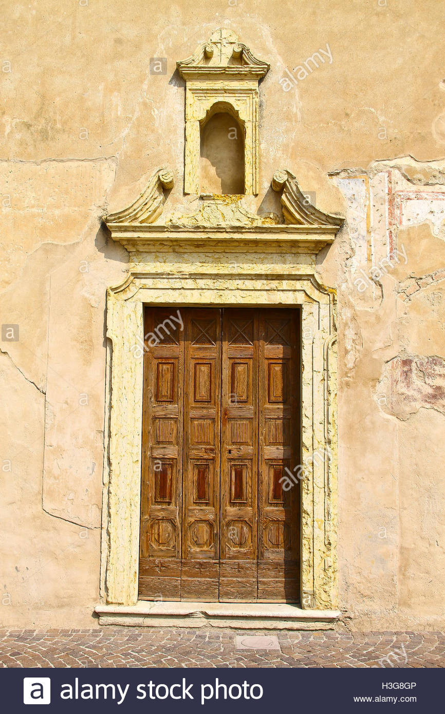 Ancient church doorway with large stone lintels. Italy Stock Photo ...