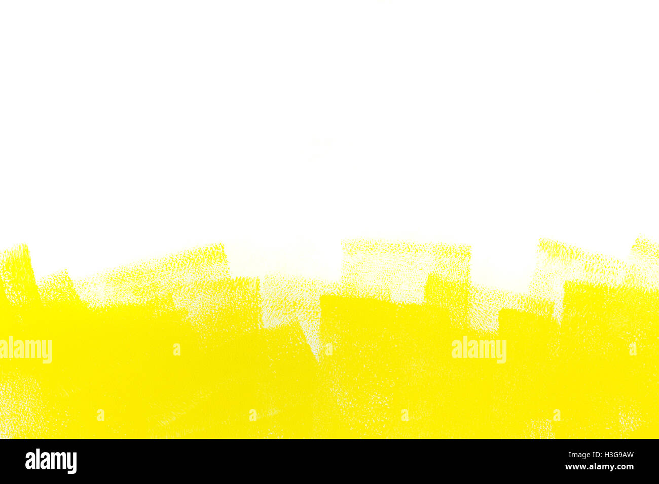strokes of yellow paint roller on white wall Stock Photo: 122675137 ...