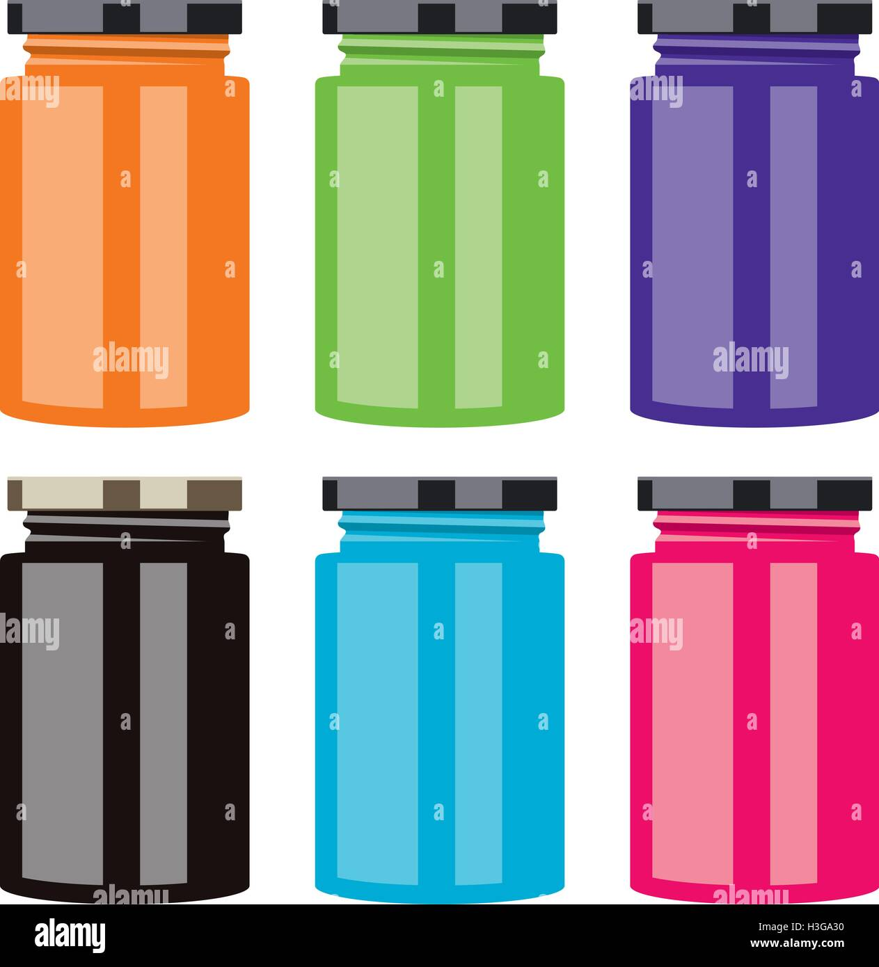 vector colorful jam jars - Stock Vector