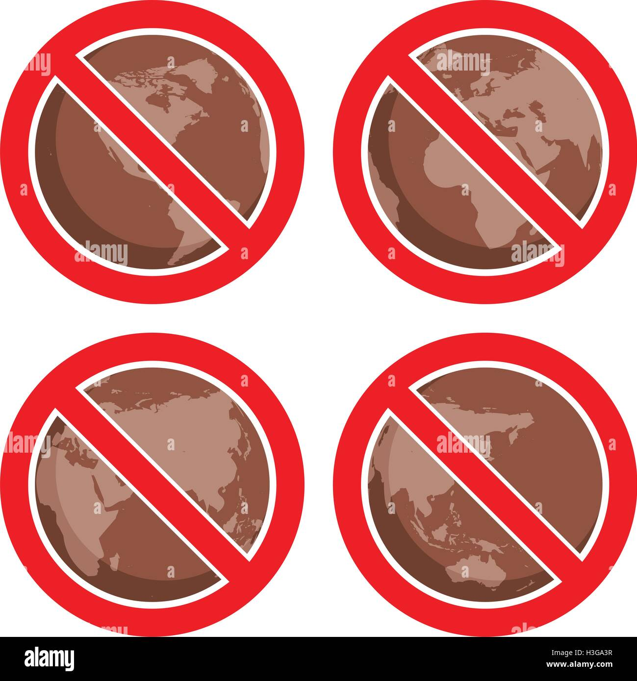 vector flat icons to stop global earth pollution - Stock Vector