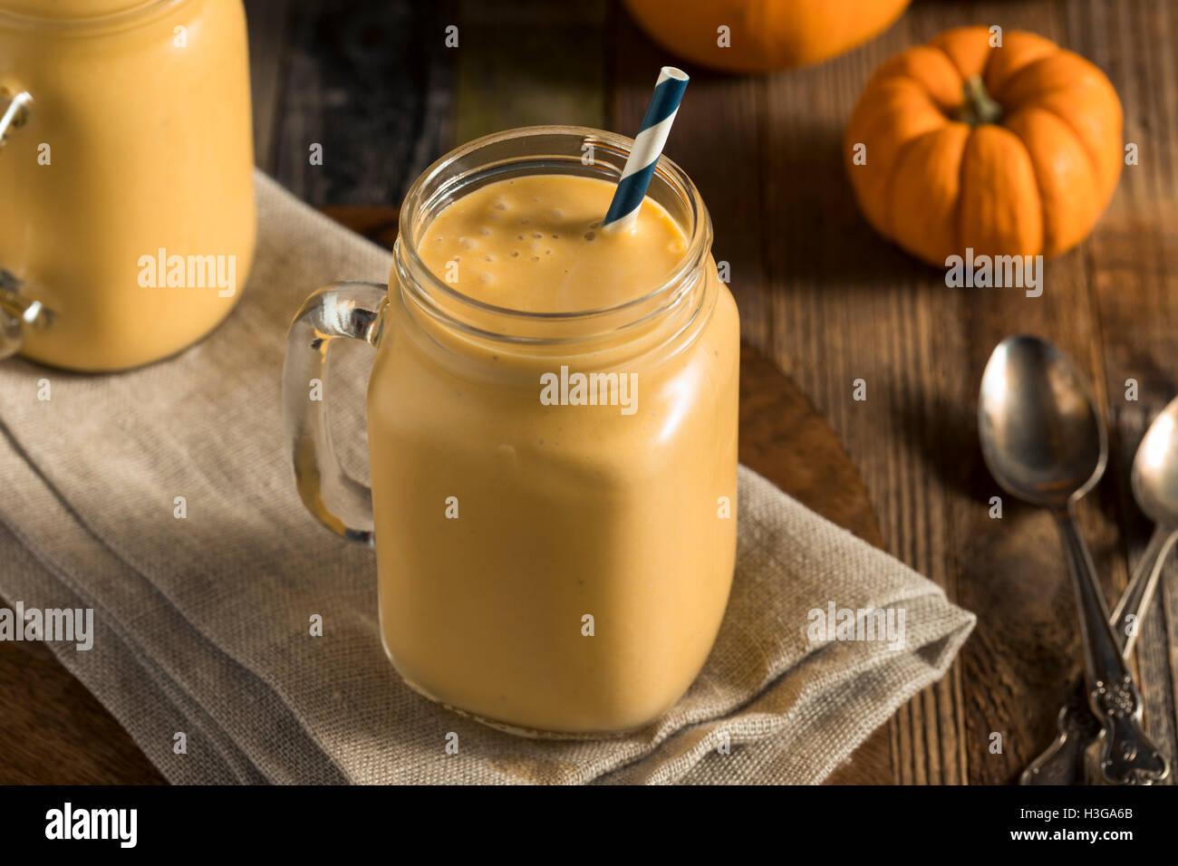 Healhty Organic Pumpkin Smoothie with Yogurt and Bananas - Stock Image