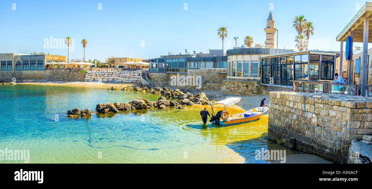 Caesarea National park offers different kinds of timespending, it contains the elements of the comfortable resort - Stock Image