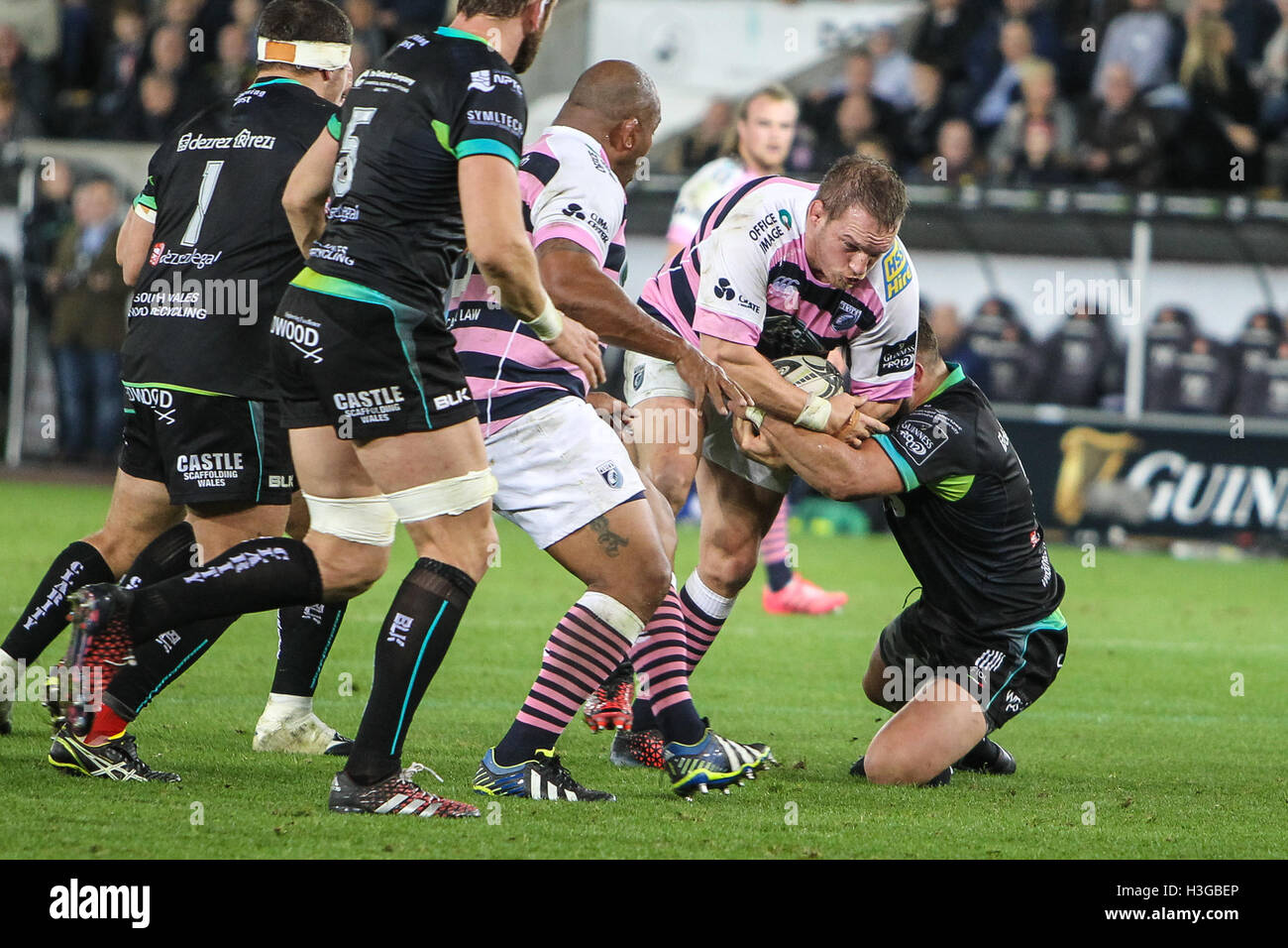 Ospreys v Cardiff Blues, Guinness Pro 12 Rugby Match, 7th October 2017, The Liberty Stadium, Swansea - Stock Image