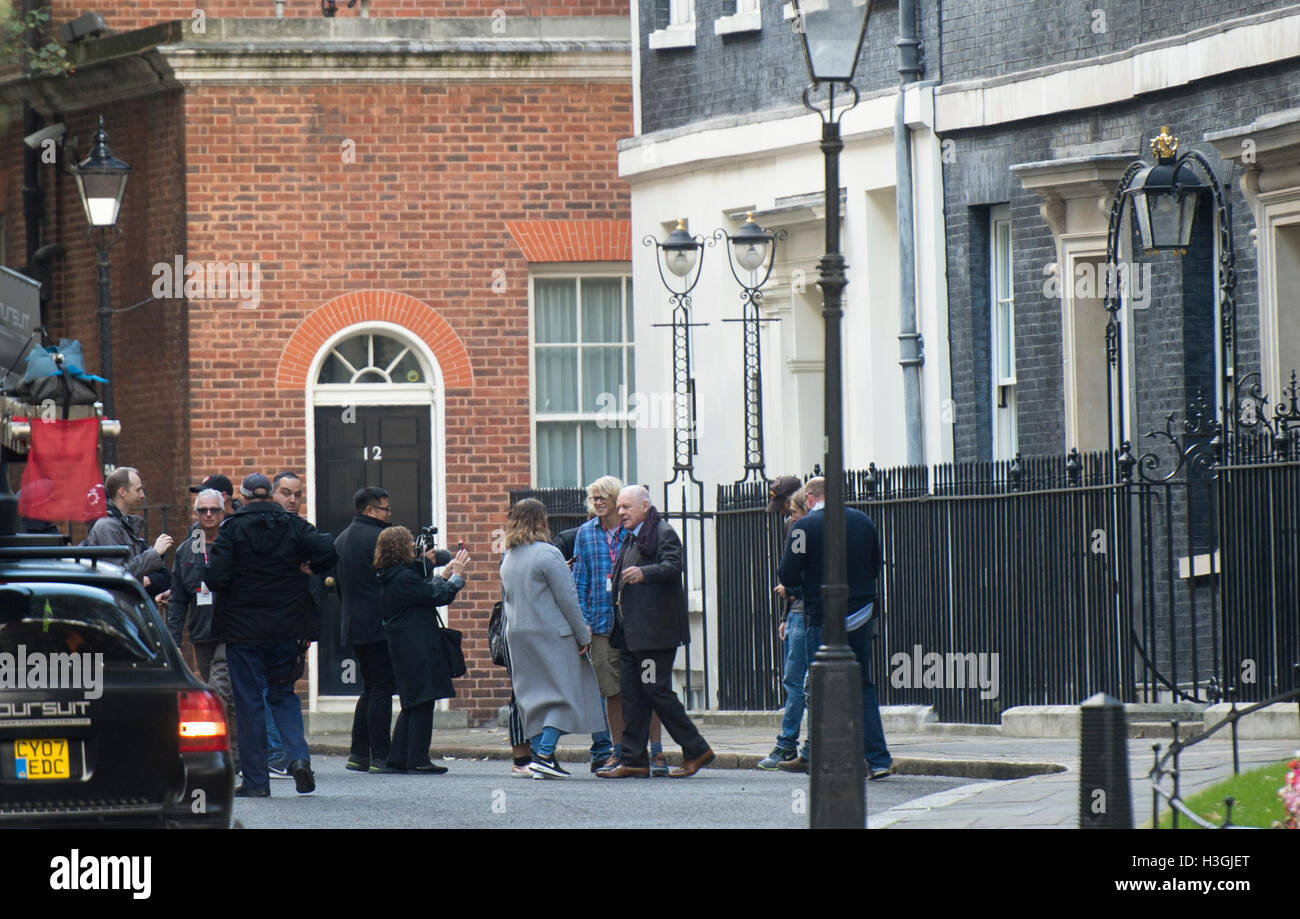 London, UK. 8th October, 2016. Filming of the new Transformers film in Downing Street on the steps of No10.Pic Shows Stock Photo