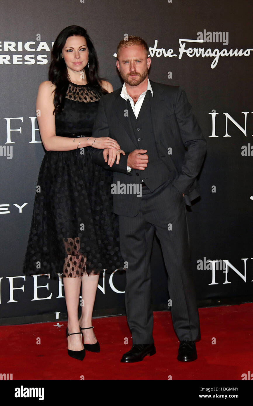 Florence, Italy. 8th October, 2016. Laura Prepon and Ben Foster Florence 8th October 2016. 'Inferno' World - Stock Image