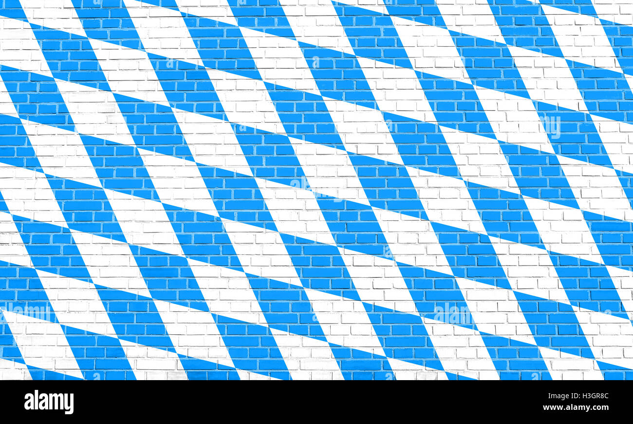 Bavarian official flag, symbol, banner, element. Oktoberfest checkered background with blue and white rhombus. Flag - Stock Image