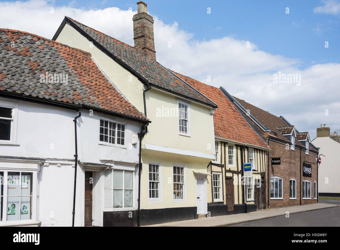 Period houses, Castle Street, Thetford, Norfolk, England, United Kingdom - Stock Image