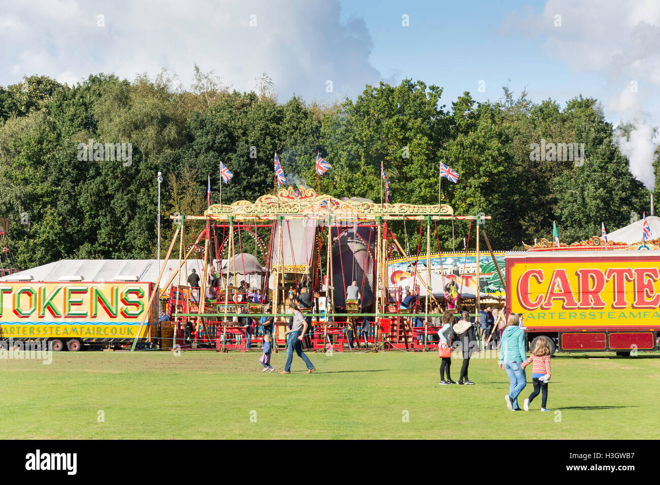 Vintage Carters Steam Fair on The Green, Englefield Green, Surrey, England, United Kingdom - Stock Image