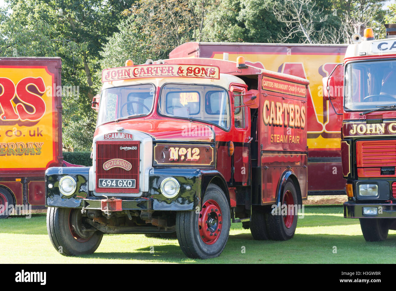 Vintage Scammell truck at Vintage Carters Steam Fair, The Green, Englefield Green, Surrey, England, United Kingdom - Stock Image