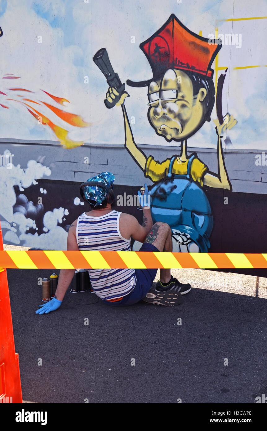 live performance graffiti at drag race Vårgårda Sweden summer 2016 - Stock Image