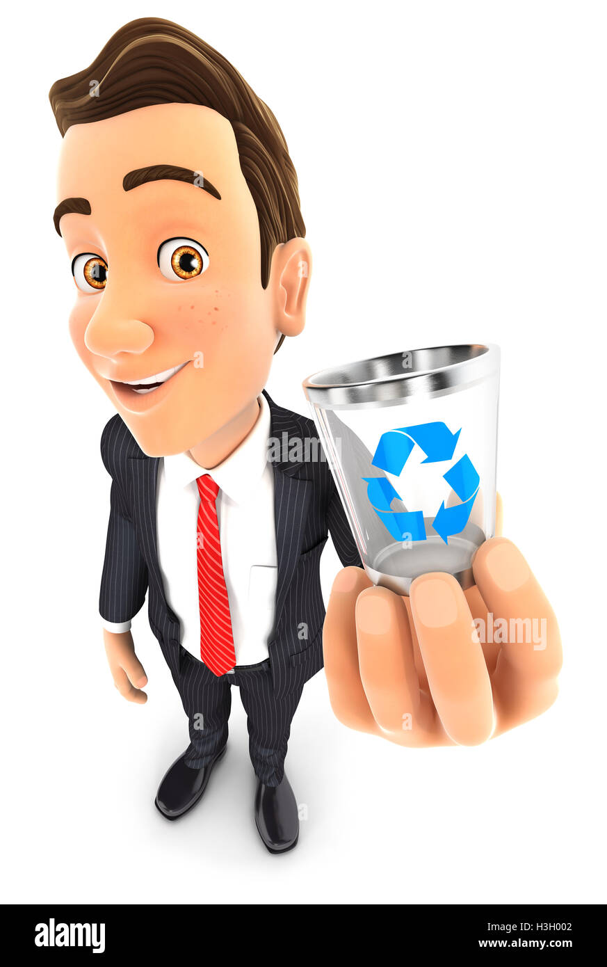 3d businessman holding trash can icon, illustration with isolated white background Stock Photo