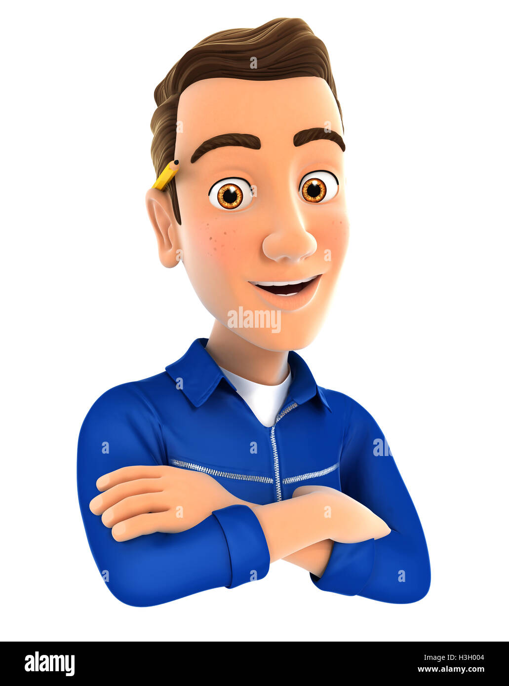 3d mechanic with arms crossed, illustration with isolated white background Stock Photo