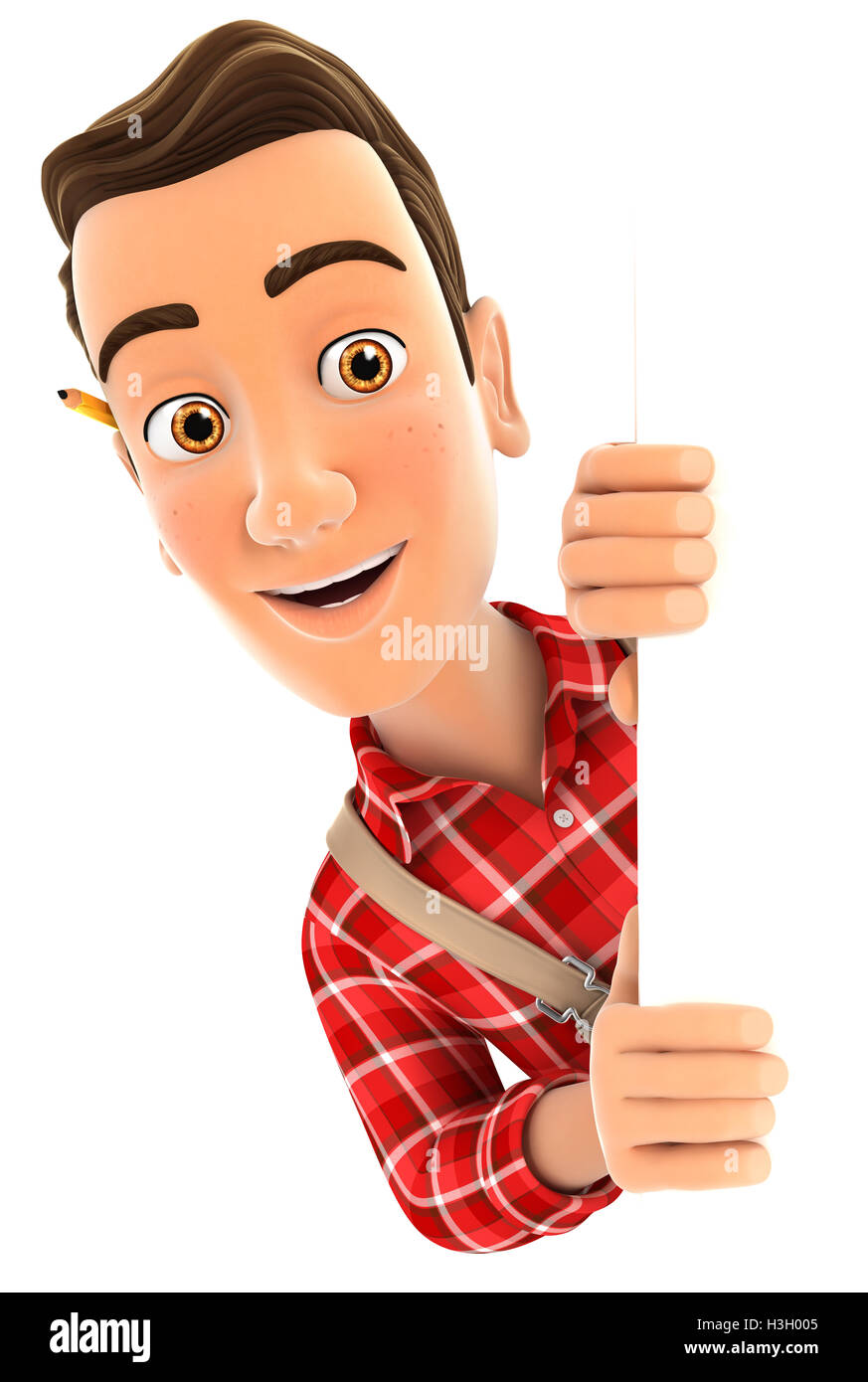 3d handyman peeping over blank wall, illustration with isolated white background Stock Photo