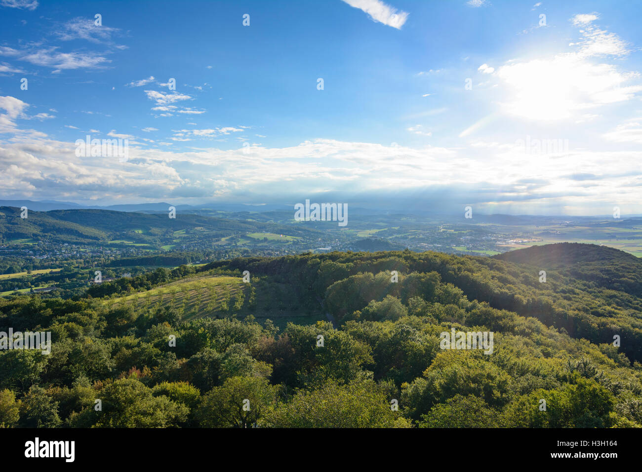 Neulengbach: view from outlook tower Buchbergwarte to Neulengbach, Wienerwald, Vienna Woods, Niederösterreich, - Stock Image