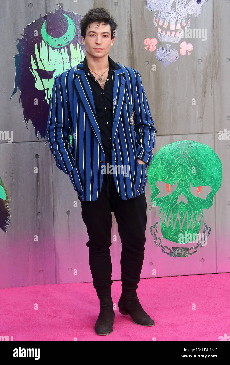 August 3, 2016 - Ezra Miller attending 'Suicide Squad' European Premiere at Odeon, Leicester Square in London, - Stock Image