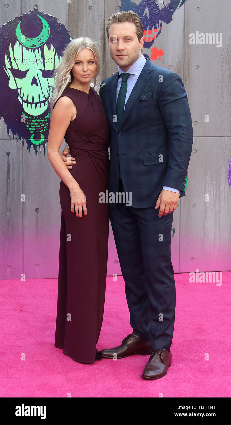 August 3, 2016 - Mecki Dent and Jai Courtney attending 'Suicide Squad' European Premiere at Odeon, Leicester - Stock Image
