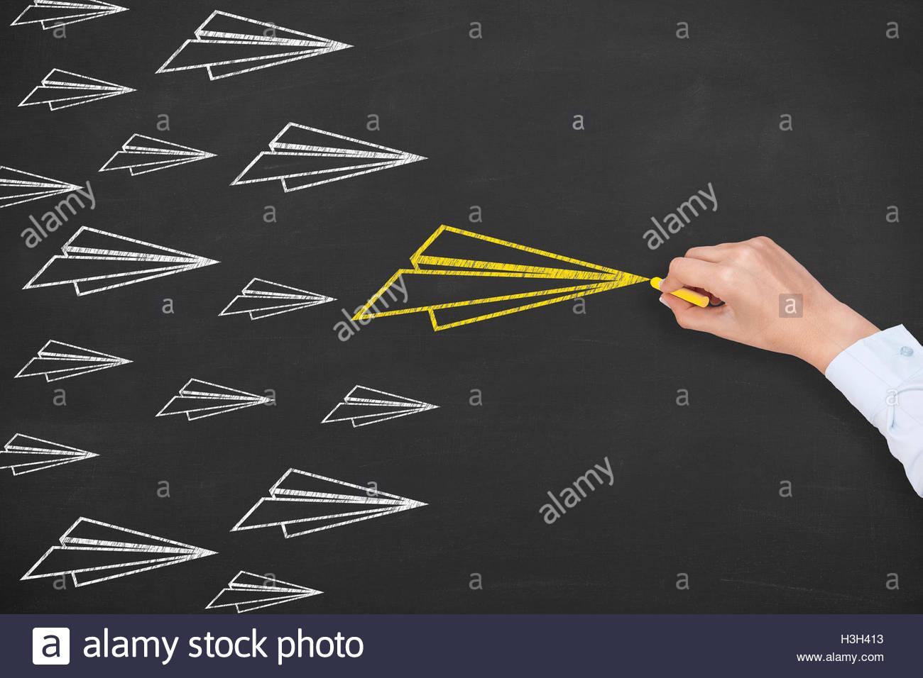 Airplane Leadership Concept on Chalkboard - Stock Image