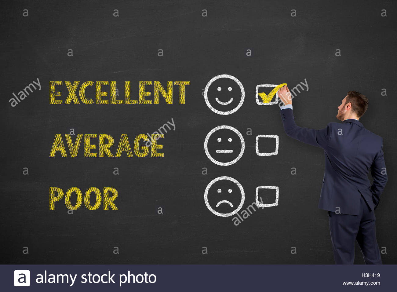 Excellent Customer Service Evaluation Form Drawing on Chalkboard - Stock Image