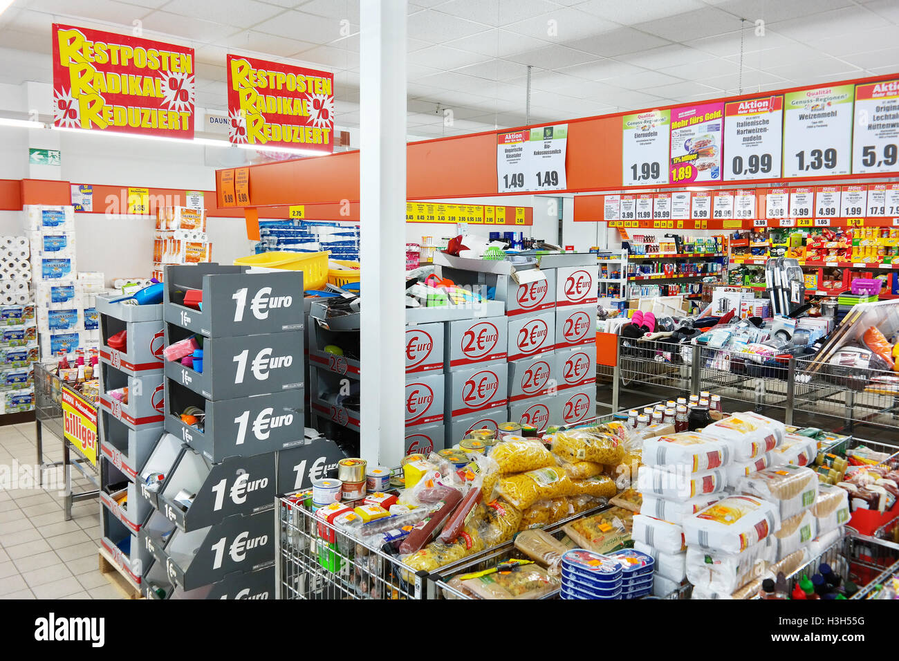 Interior of a Norma discount supermarket. - Stock Image