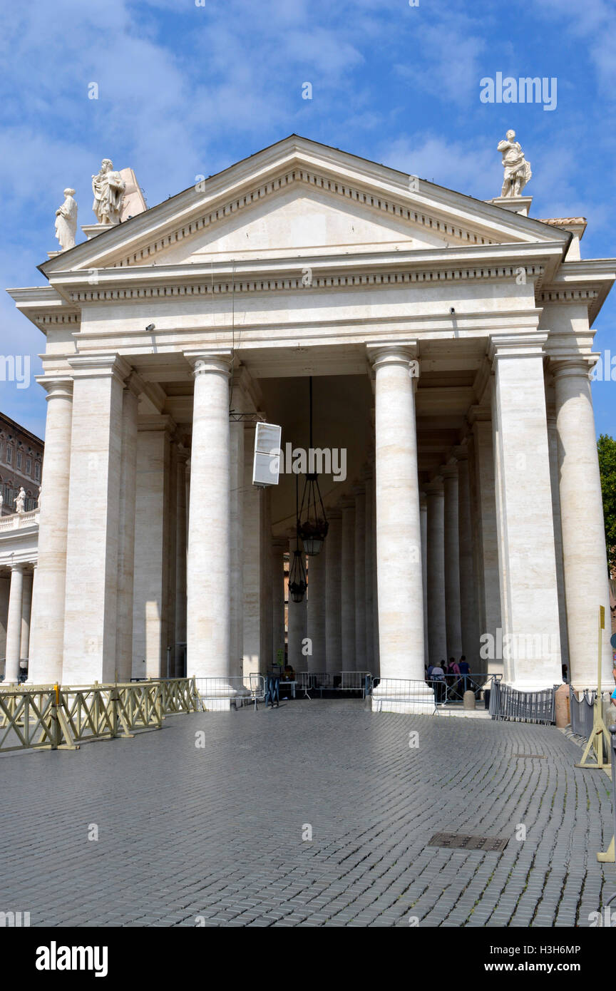 The Trapezoidal entrance to the Basilica in the Vatican City - Stock Image