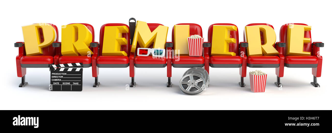 Premiere. Cinema, movie video concept. Row of seats with popcorm, glasses and clapper board isolated on white. 3d - Stock Image