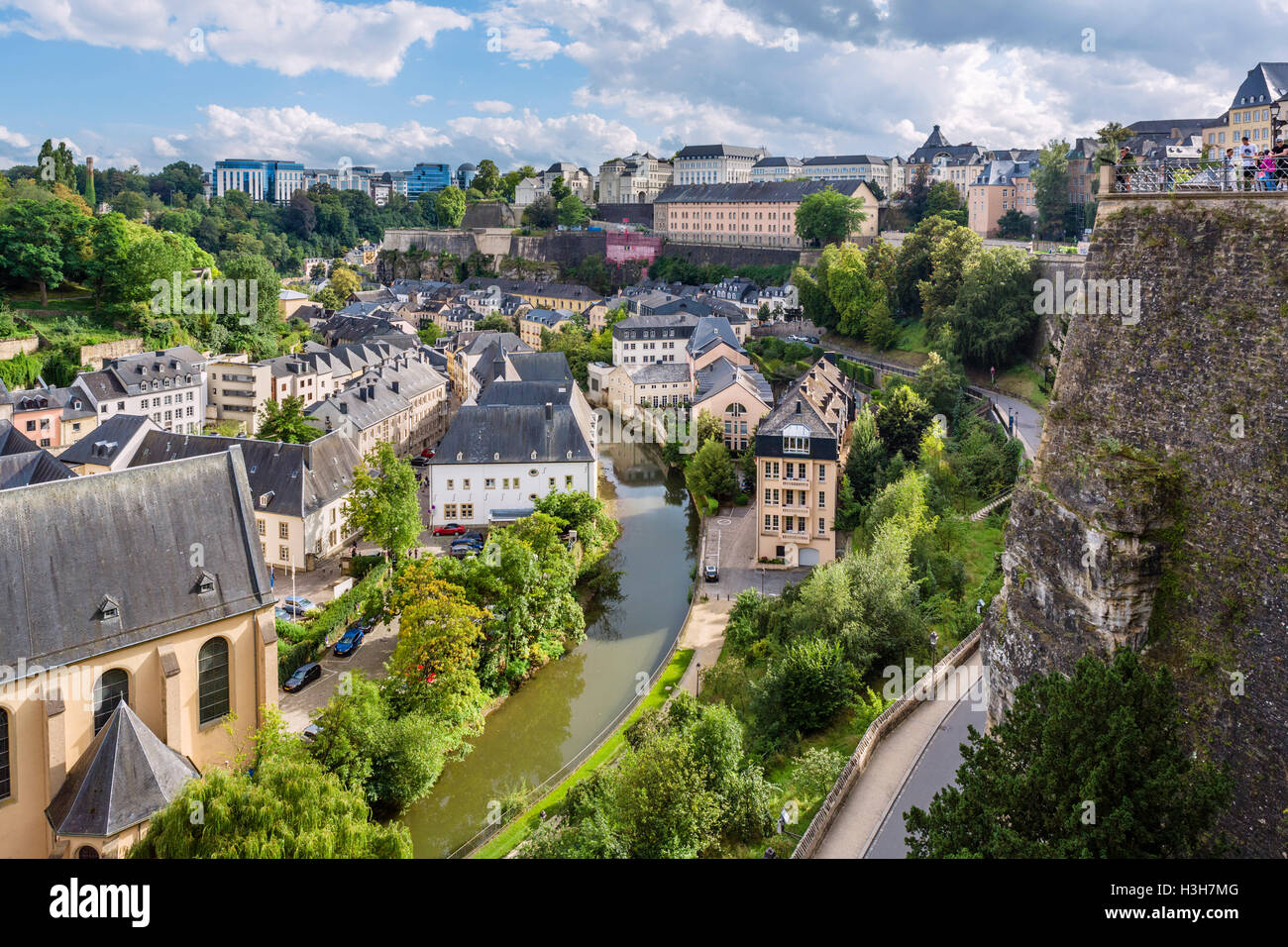 View from the Rue de la Corniche in the old town (La Vieille Ville), Luxembourg city, Luxembourg - Stock Image