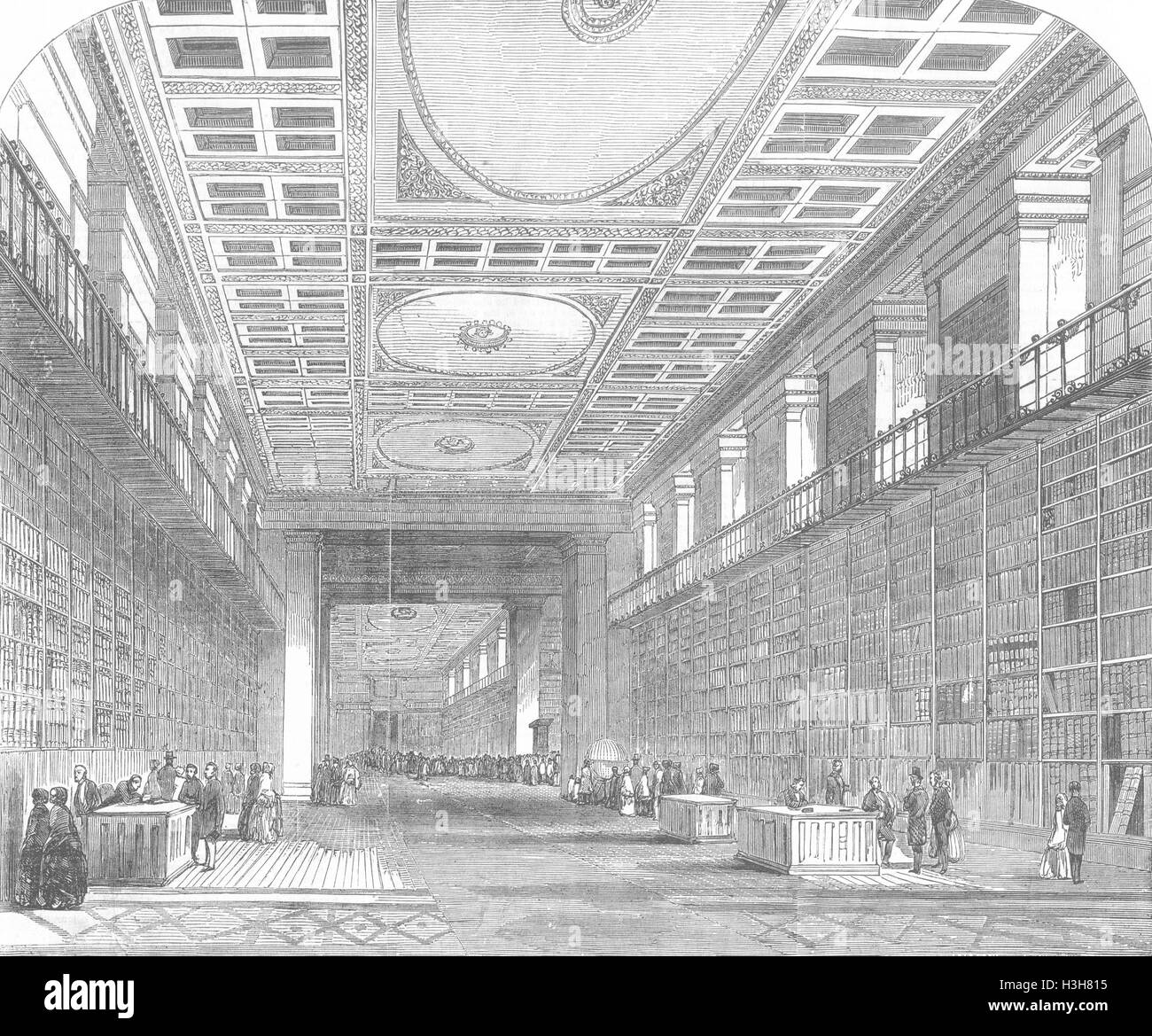 LONDON British Museum-Royal or King's Library 1851. Illustrated London News - Stock Image