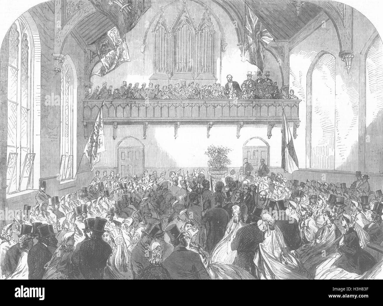 FREEMASONS Masonic Inst for boys 1865. Illustrated London News - Stock Image