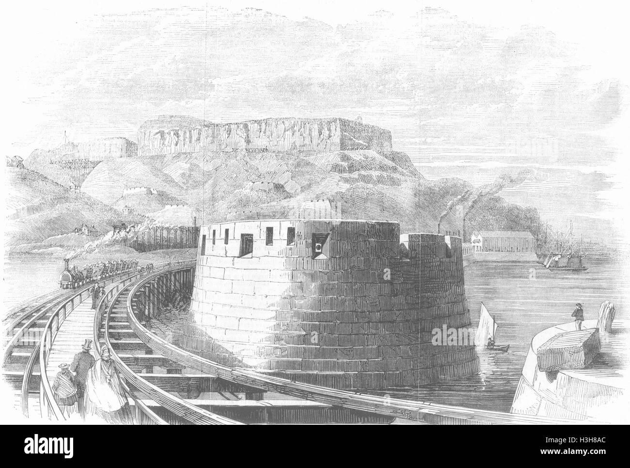 DORSET Portland Harbour #1 Bastion, Verne Ft 1862. Illustrated Times - Stock Image