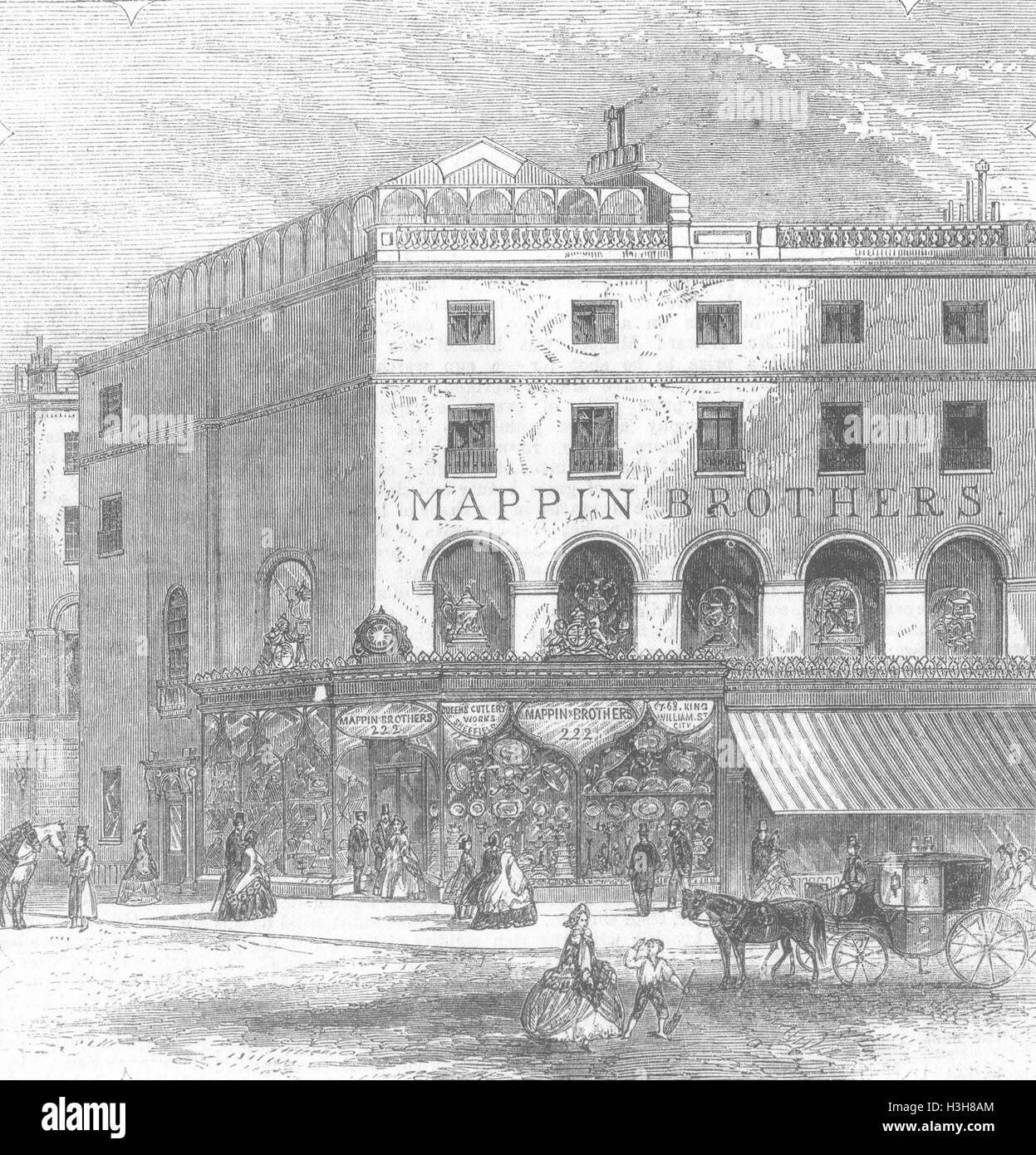 LONDON Mappin Brother's new premises, Regent St 1862. Illustrated Times - Stock Image