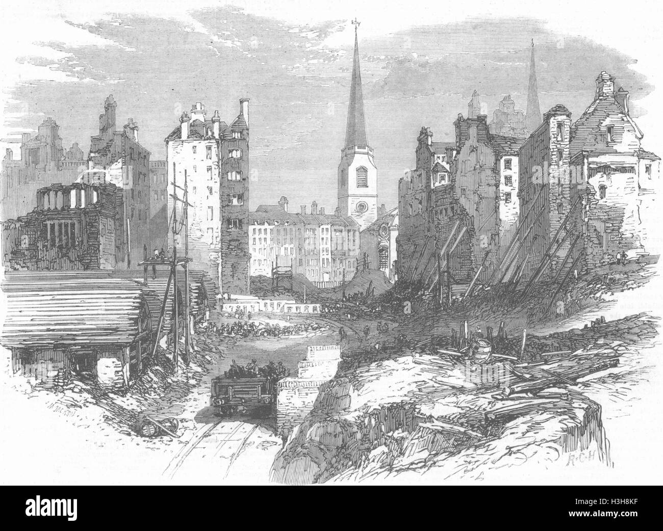 LONDON South-Eastern Railway Works, Dowgate Hill 1864. Illustrated London News - Stock Image