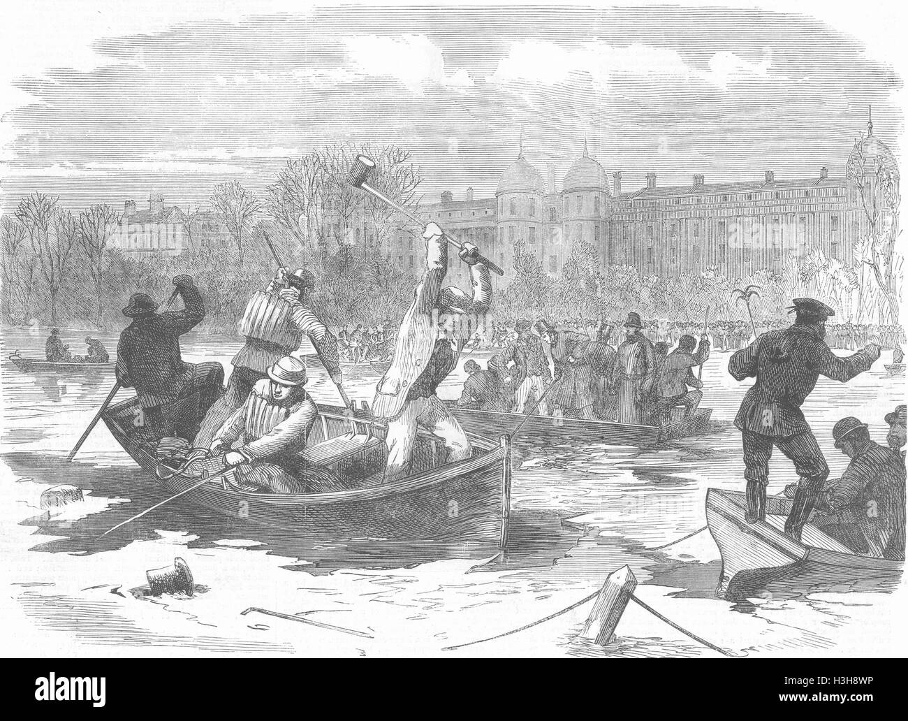 LONDON Ice disaster at Regent's Park Dragging the lake for the dead 1867. Illustrated London News - Stock Image
