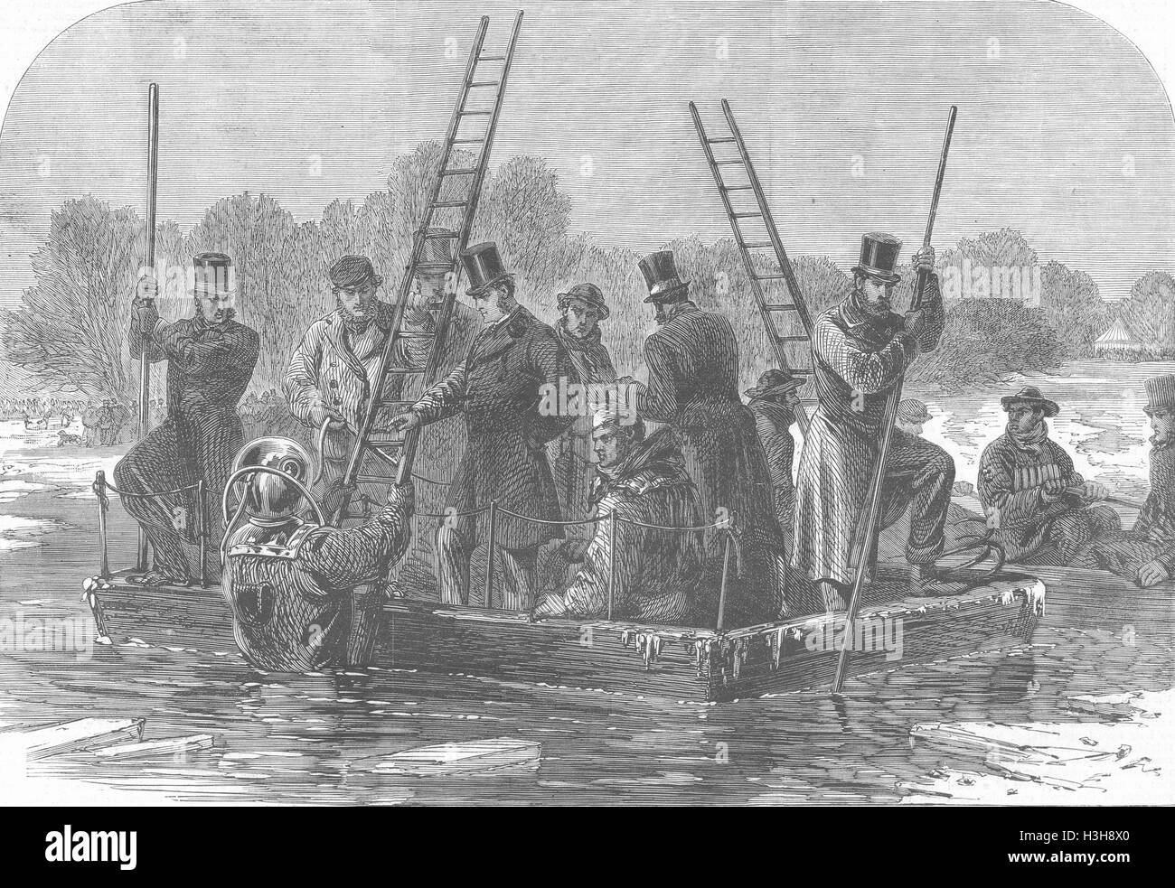 LONDON disaster, ice, Regent's Park Divers searching 1867. Illustrated London News - Stock Image