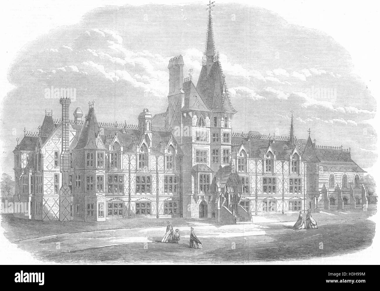 LONDON French Protestants hospital, Victoria Park 1865. Illustrated London News - Stock Image